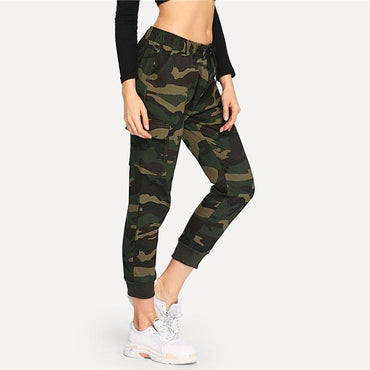 Mid Drawstring Waist Camouflage Jeans