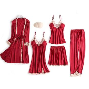 5 Pieces Robe Sleep Satin Lounge Pajama Set