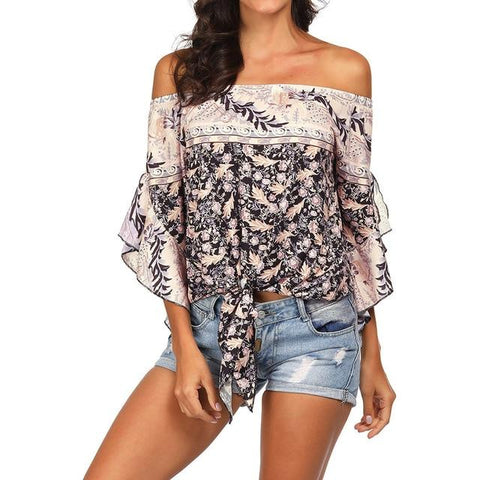 Off Shoulder Trumpet Sleeves Summer Top
