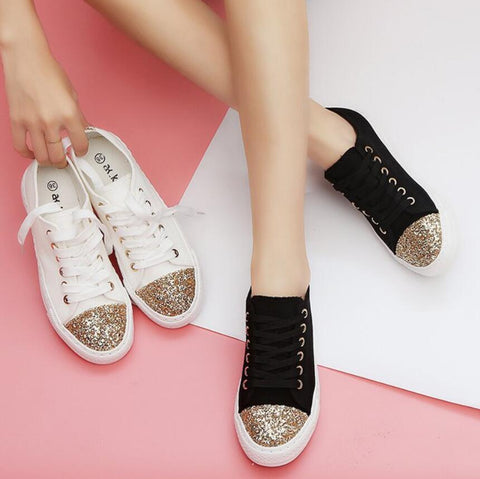 ace up black/white flats  gold glitter decoration canvas shoes