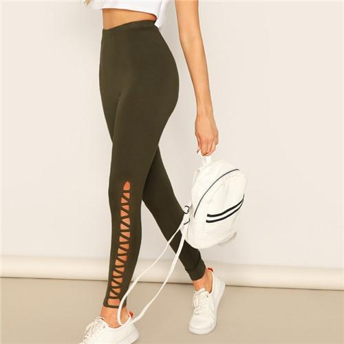 Cut-out Side Solid Long Legging