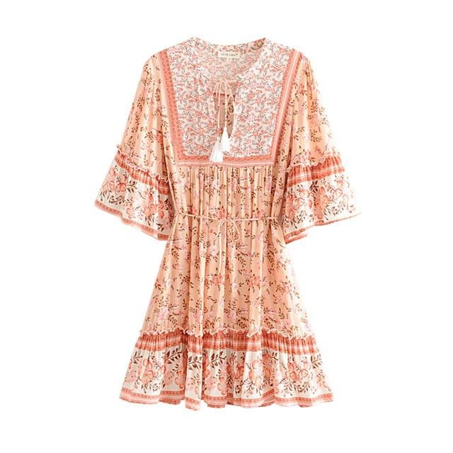 Floral Print Smock Ruffle Sleeve Boho Chic Dress