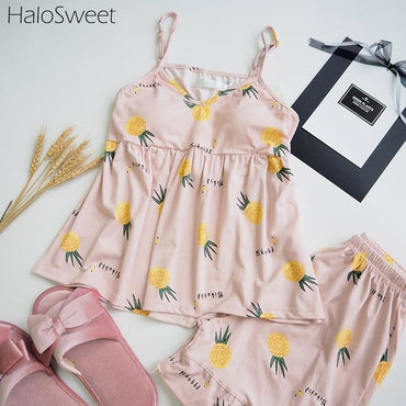 Summer Cotton Sleepwear Pajamas Two Piece Sling Shorts