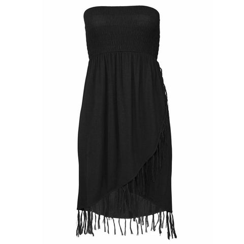 Sexy  Boho Tassel Tube Top Dress