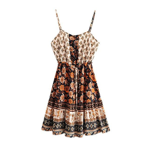 Button neck Adjust Straps Dresses Holiday Boho Beach Dress