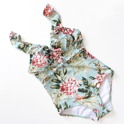 Retro Floral Crinkle V Neck Ruffle One piece Swimsuit Monokini