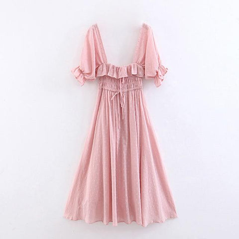 Ruffles Trim Elegant Low-cut Sexy Casual High Waist Pleated Midi Dress