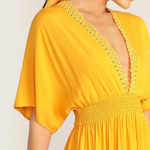 Guipure Lace Plunging Neck Knot Back Half Batwing  sleeve Dress