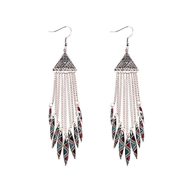 Bohemia Geometric Alloy Long Chain Tassel Dangle Earrings
