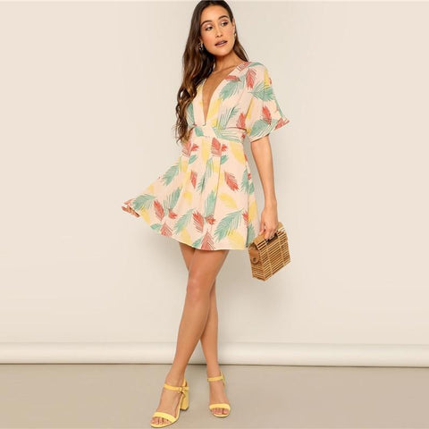 Tropical Plunge Neck Tied Open Back Dress