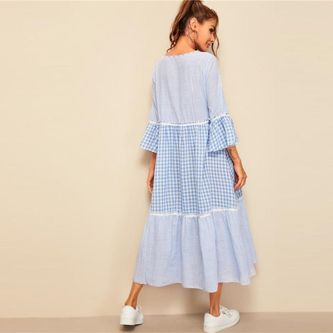 Frill Trim Gingham Striped Print A Line Maxi Dress