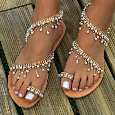 New Fashion Women Boho Strappy Sandals Rhinestone Pearl Casual Flats Shoe
