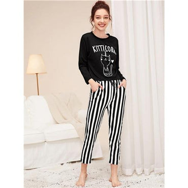 Cartoon Cat Print Top And Striped Pants Pajamas