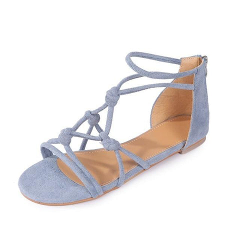 Women Boho Style Crystal Shoes Flat Heel Summer Beach Sand Casual Flats Sandals