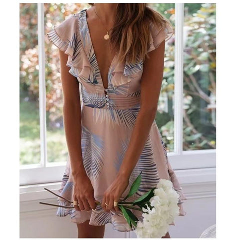 Elegant Leaf Print Ruffles Boho Summer Dress