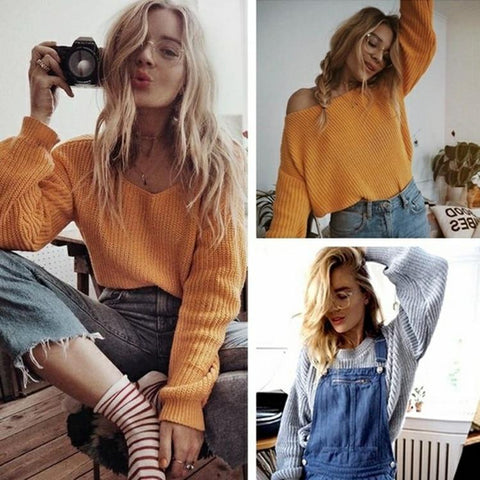 off shoulder pullover knitted sweater