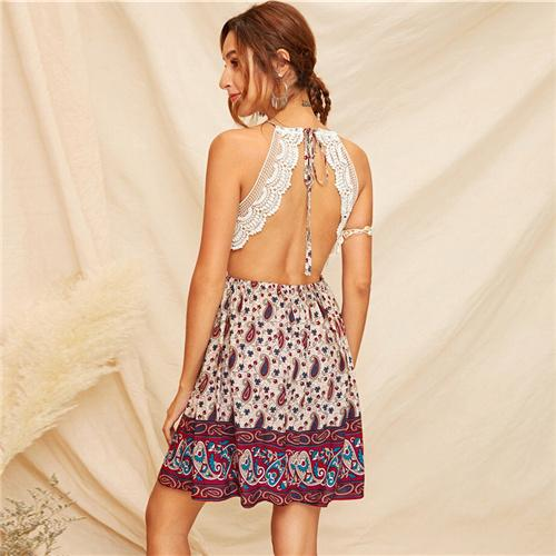 Boho Knot Slip Flared Sleeveless Dress