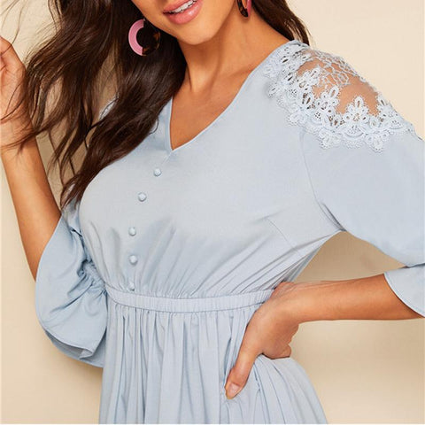 Blue Lace Shoulder Elastic Waist Long Dress