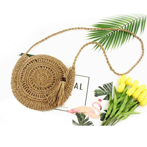 Woven Round Straw Handbag Knit Tassel Shoulder Messenger Bag