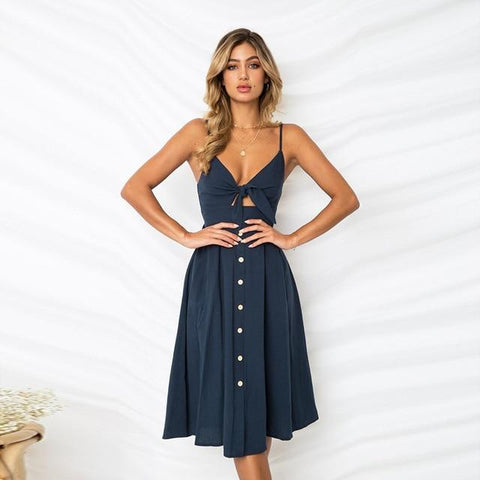 Vintage Bow Backless Midi Sexy Dress