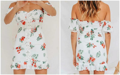 Boho chic floral print off shoulder summer dress lace up mini dress