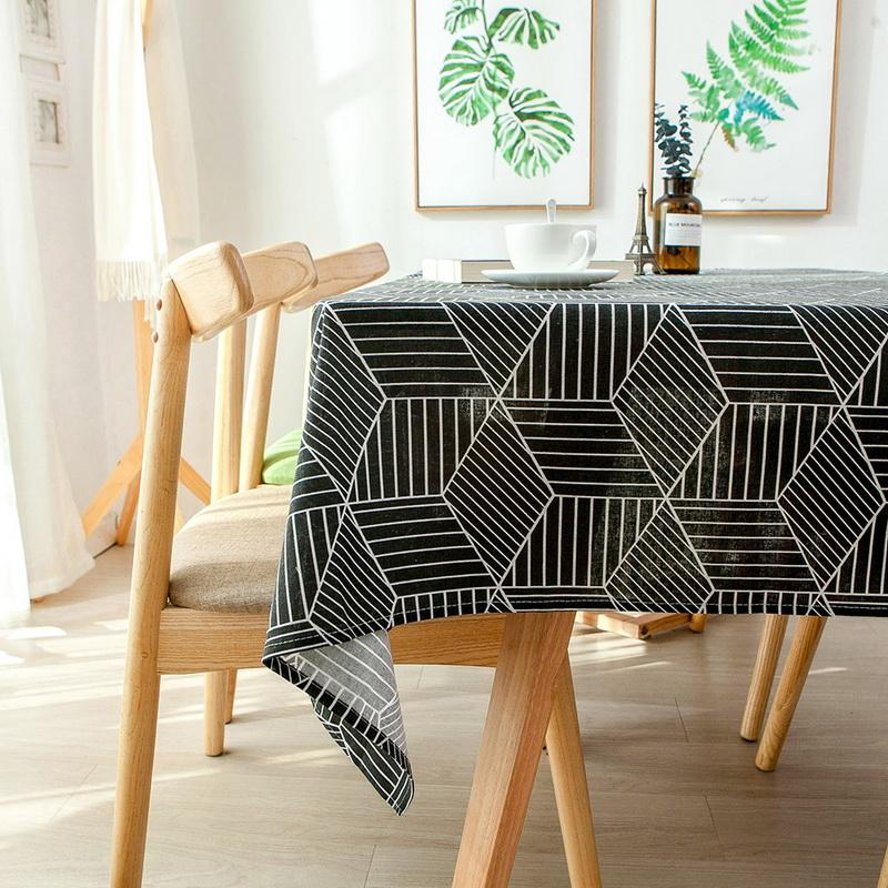 Nordic geometric grid pattern Tablecloth