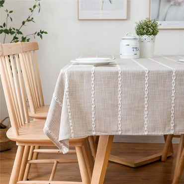 Nordic Stripe Style Cotton linen Tablecloth
