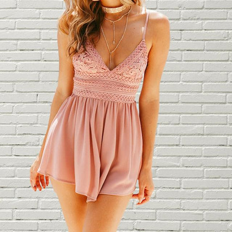 Vintage Casual Playsuits Off Backless Jumpsuit Rompers
