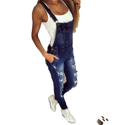 new hole fashion stretch one-piece denim straps feet pants