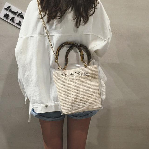 Bamboo Handle Letter Printed Straw Weave Transparent Tote Bag