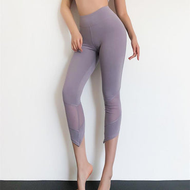 Style Irregular High Waist Mesh Patchwork Yoga Pants