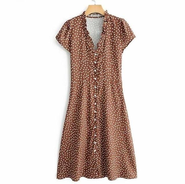 Polka Dot Printing Ruffles V Neck Vacation Sundress