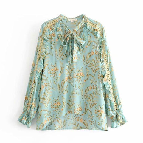 Turquoise Floral Print Boho Shirt Top
