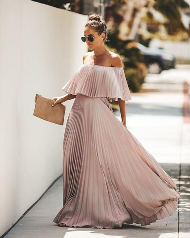 Off Shoulder Chiffon Ruffle Pleated Pink Elegant  Dress