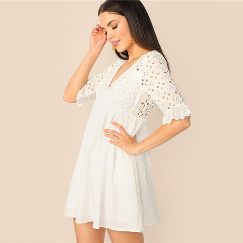 Embroidery Cutout Tie Back Schiffy Smock Dress