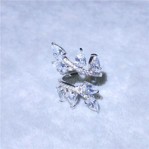 Morocco Design CZ Zirconia Crystal Open Ring
