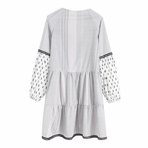 Vintage Chic cute striped floral embroidery dress