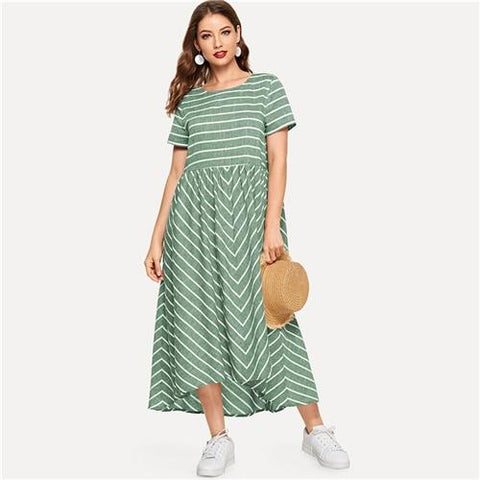 Striped Chevron Print Smock Maxi Dress