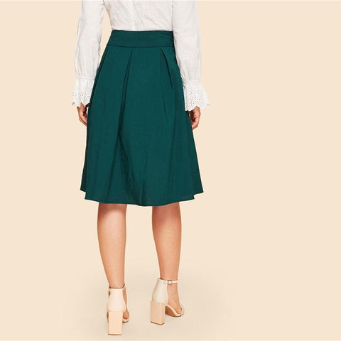 Buckle Belted Pleated Skirt Vintage High Waist Flared Skirt
