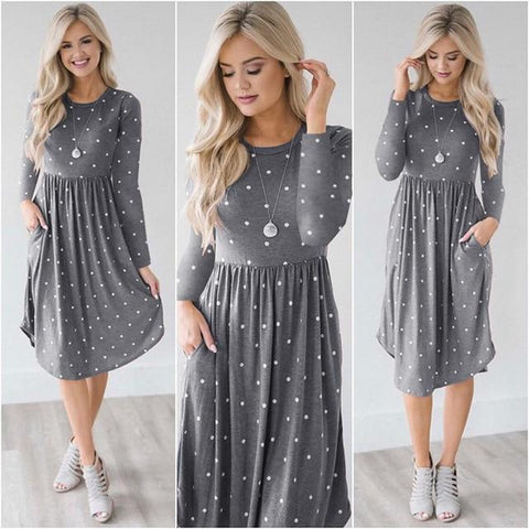 Long Sleeve Striped Polka Dot Dress