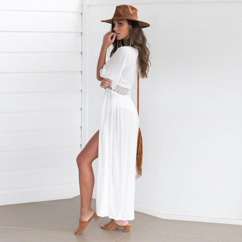 Solid White Cover up Swimwear Chiffon Kimono Cardigan