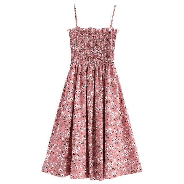 Floral Print Ruffles Cami Dress High Waisted A-Line Dress