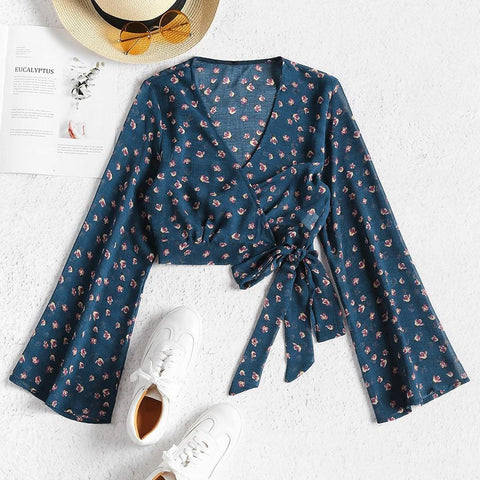 Cropped Wrap Floral Top Full Sleeve V-Neck Crop Top