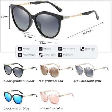 Fashion Brand Design Cat Eye  Polarized Sun Glasses