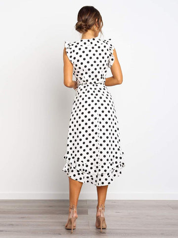Elegant Polka Dot Ruffles Sleeve V-Neck Sexy High Waist Sashes Maxi Dresses