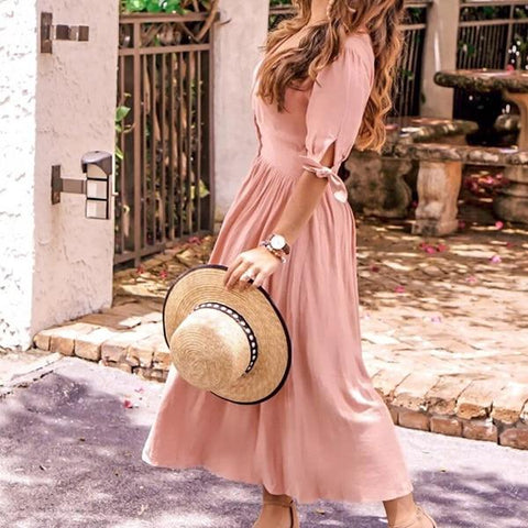 Sexy Deep V-Neck Slit Wrap Casual Loose Button Elegant Long Dress