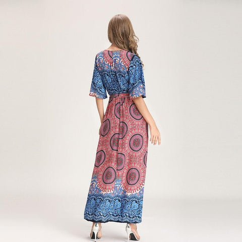 Bohemian print sleeve long maxi dress