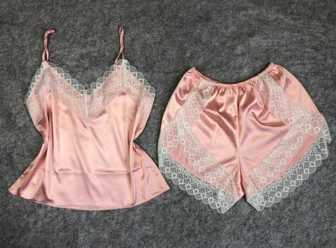 Sexy Satin  Lace V-Neck Sleepwear Pajama Set