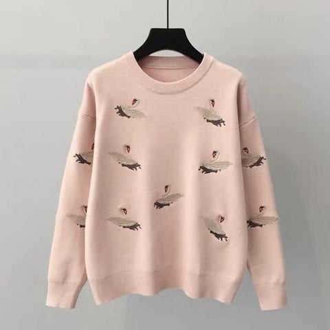 Embroidery Women O-Neck Loose Pullovers Sweater