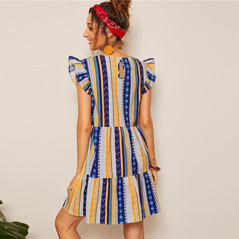 Aztec Print Ruffle Hem Trim Boho Dress